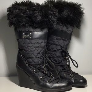 Guess Quilted and Faux Fur Black Boots